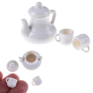 White Mugs 1:12 Dolls House Miniature Cups & Pot Set Dollhouse Toys Placti