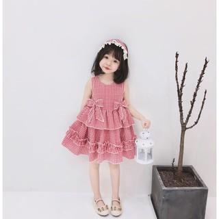 Váy công chúa hồng kẻ caro cho bé gái Sophia V17