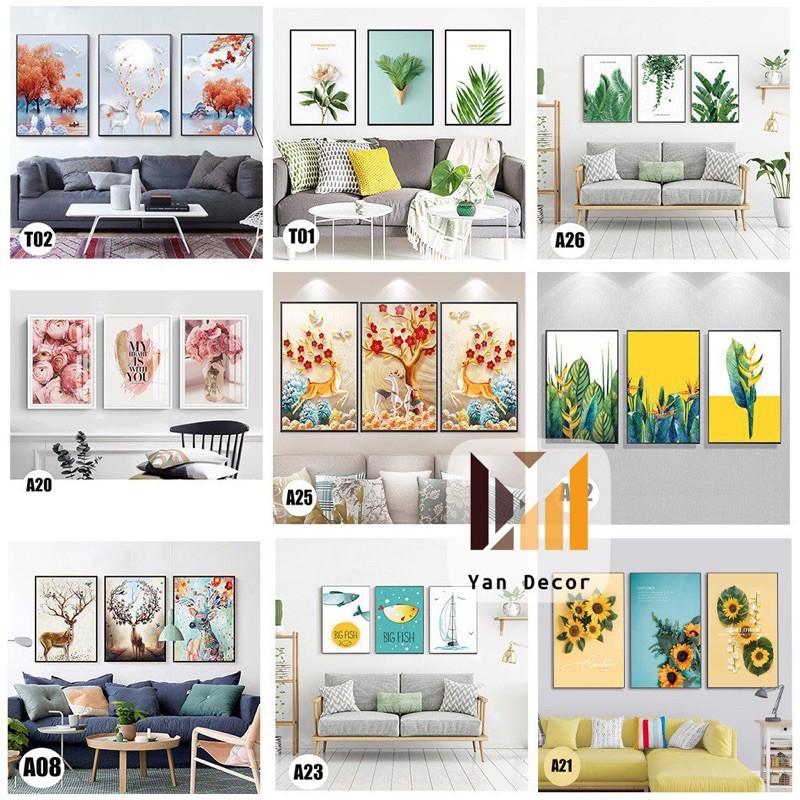 Bộ 3 bức tranh canvas khung gỗ,tranh phòng khách,phòng ăn,phòng ngủ