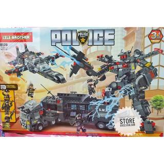 Lego Lele Brother 8529 Lă p Ra p Biê t Đô i SWAT POLICE Kê t Hơ p Robot ( 700 Ma nh )