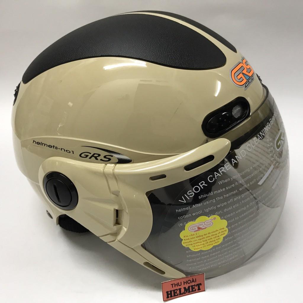 Mũ bảo hiểm GRS A102K (Sữa line đen)