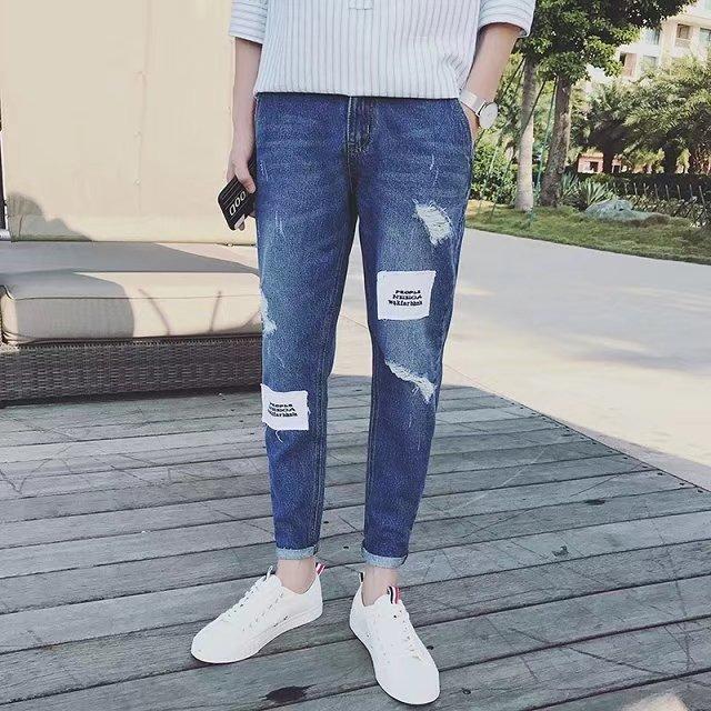 Quần jeans nam rách wash thời trang ZAVANS (Xanh bò)