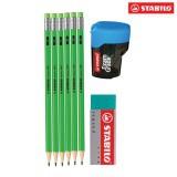 Bộ 6 cây chì gỗ STABILO Swano (xanh lá) kèm gôm, chuốt PC4907G-C6S+
