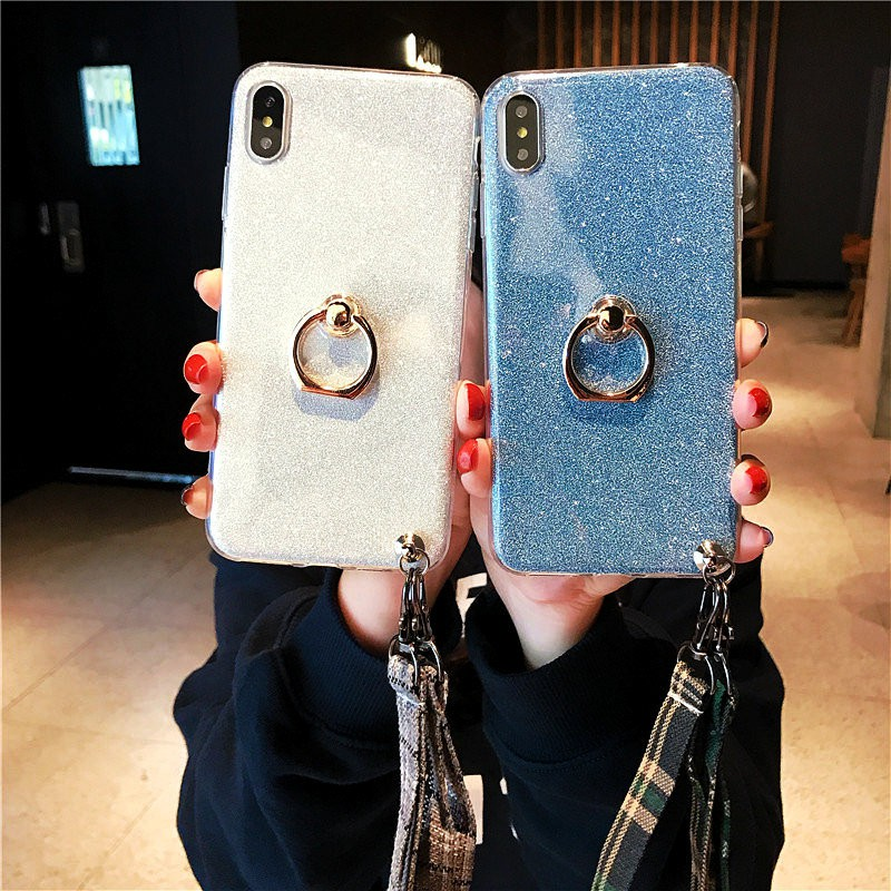 Case iPhone XS Max/XR/XS/X/8&7&6&6S Plus/8/7/6S/6/5C/SE/5S/5 Soft Glitter British Wind Lanyard Motif