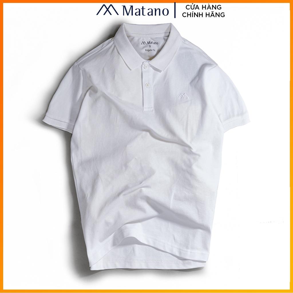 Áo polo nam trắng trơn basic đẹp MATANO - Áo thun nam có cổ trụ bẻ, vải cá sấu cotton cao cấp chính hãng giá rẻ 023