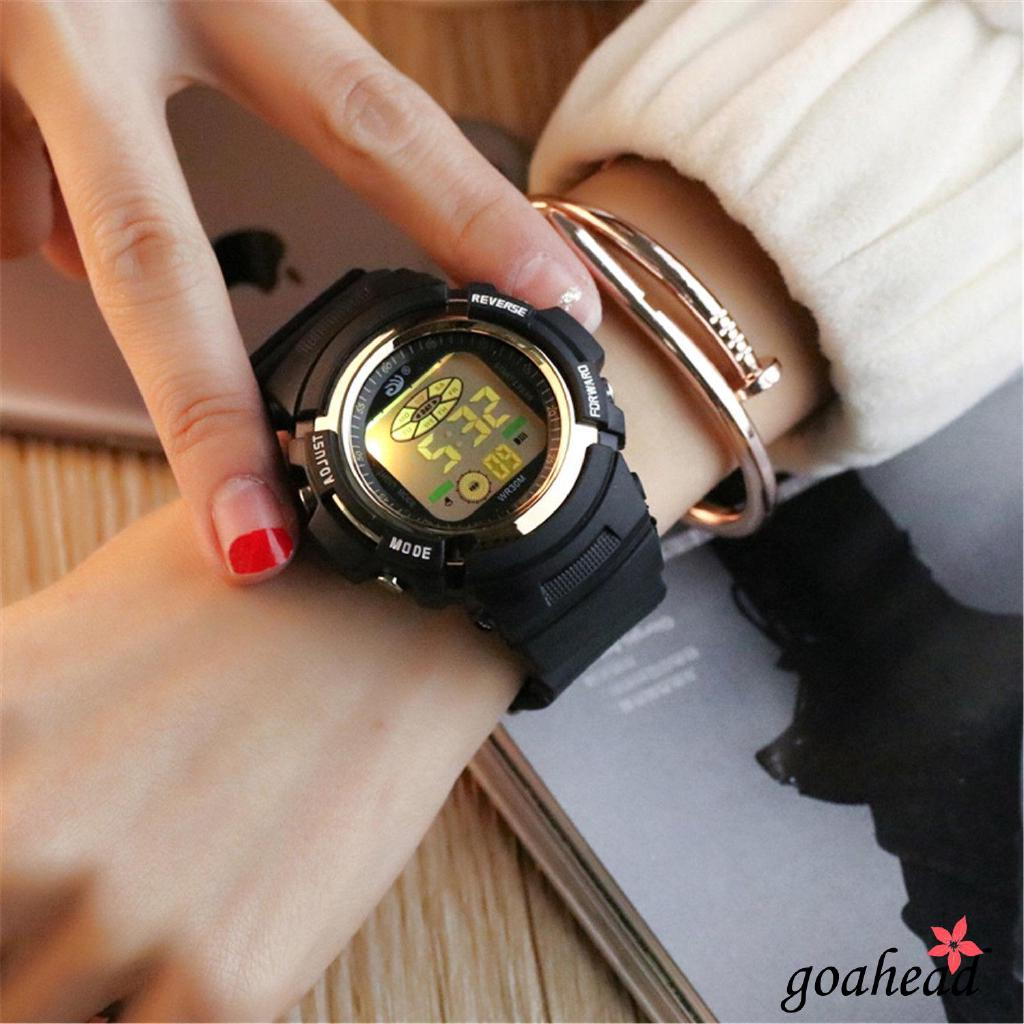 Đồng hồ kỹ thuật số 2g8-chống nước bằng thép không gỉ tích hợp đèn LED