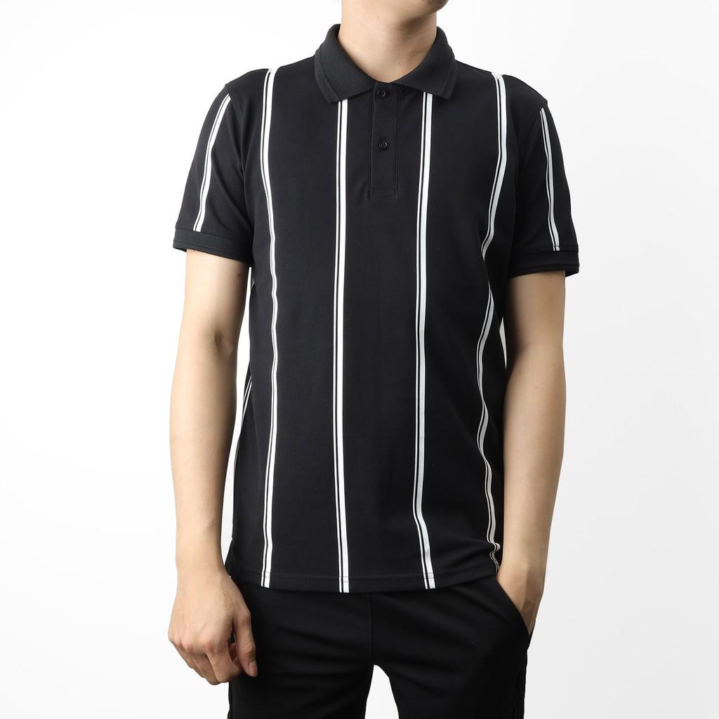 Áo polo nam ngắn tay chất cotton phối sọc 2 màu đen trắng DILANO APD01