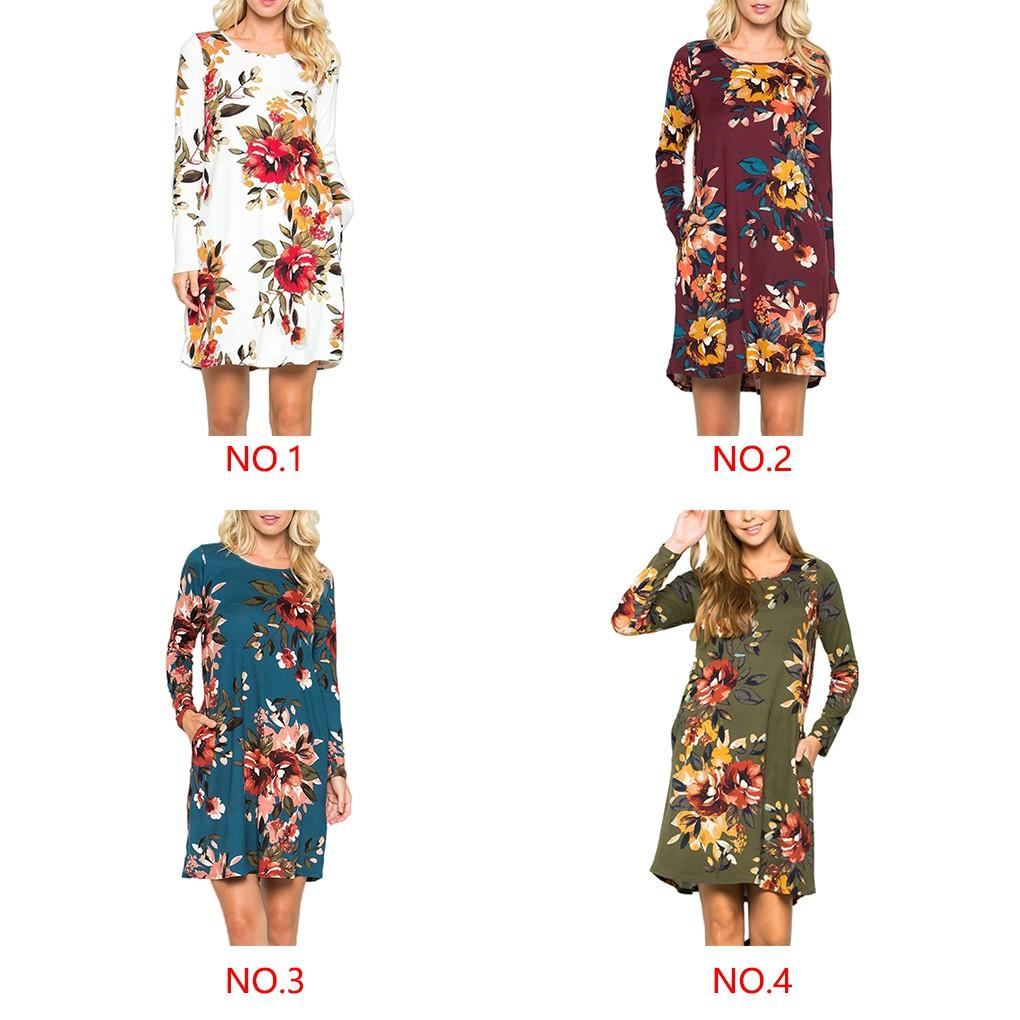 Đầm tay dài cổ tròn hoạ tiết hoa thời trang mùa thu cho phái nữ