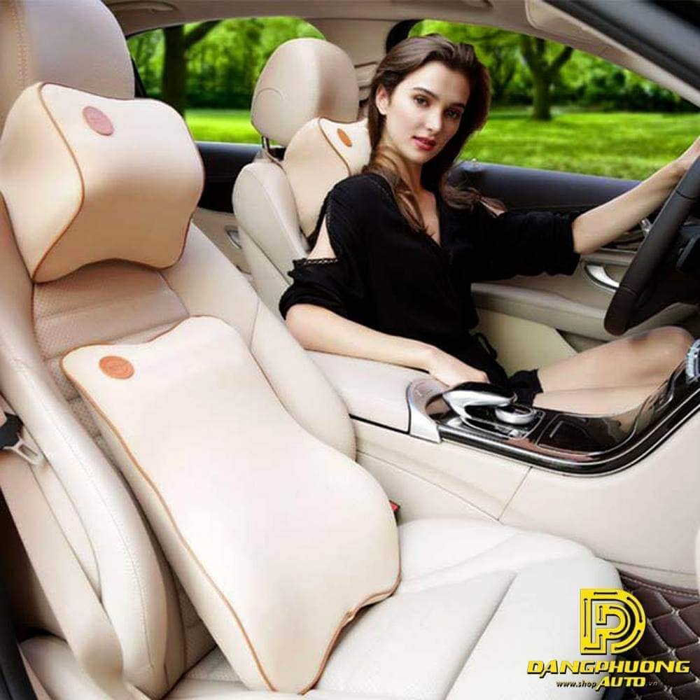Gối tựa đầu và lưng cao su non ngồi ghế ô tô