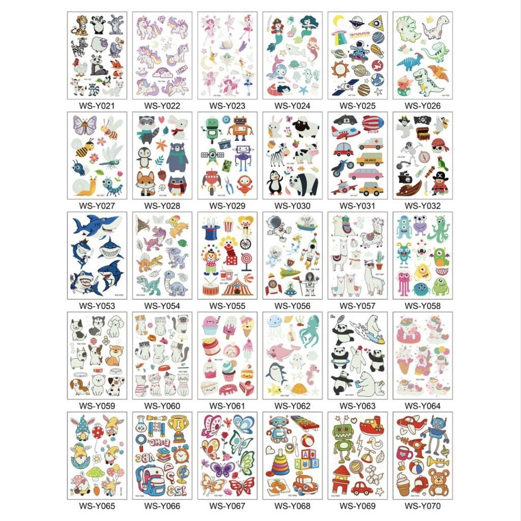 Sticker hình xăm phản quang dán tuổi thơ TATOO NGỰA PONY KHỦNG LONG PHƯƠNG TIỆN GIAO THÔNG đồ chơi cho bé trai bé gái