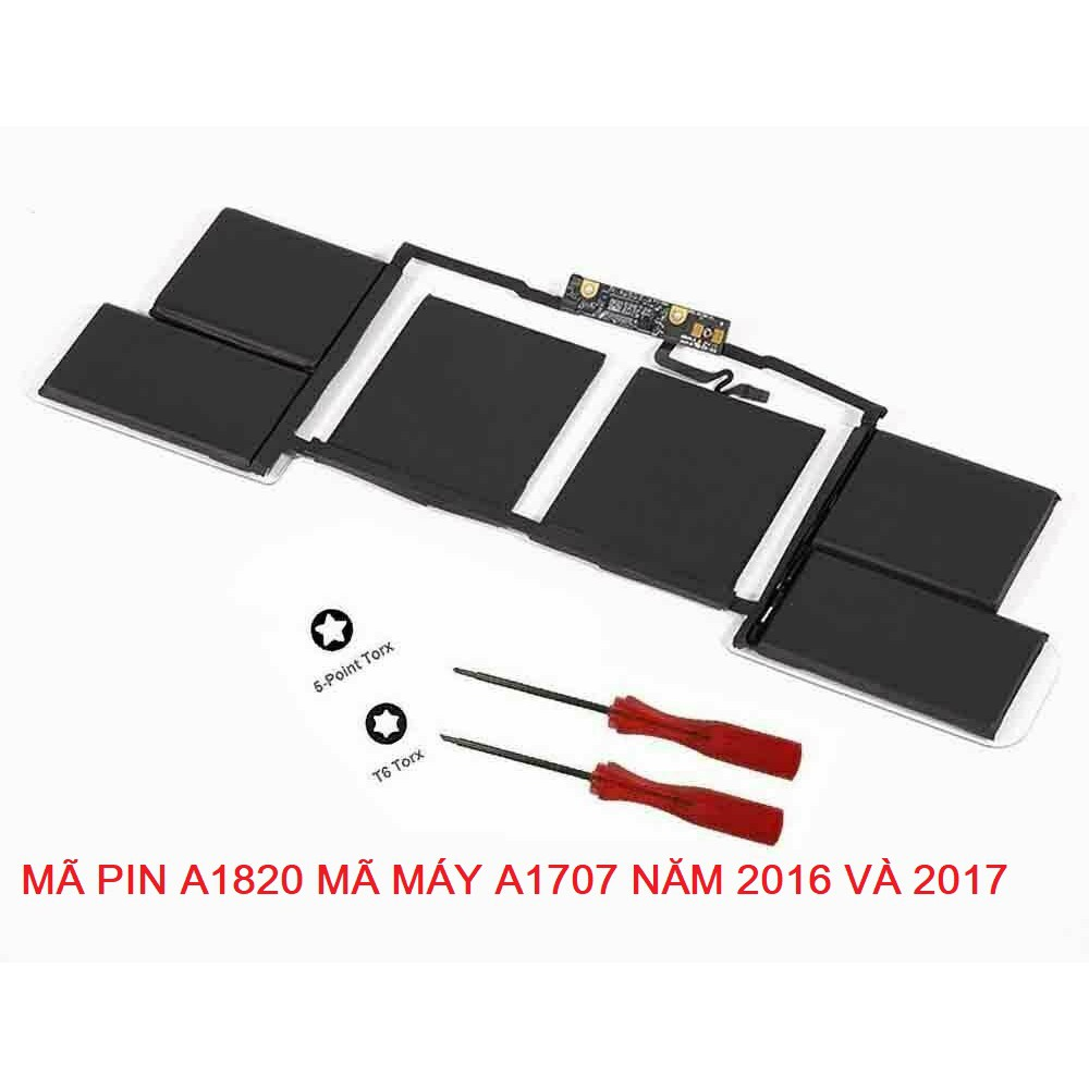 "Pin Apple MacBook Pro 15"" Mã Máy A1707 Mã Pin A1820  Touch Bar Late 2016 Mid 2017 (MLH42LL/A*, MPTR2LL/A*, MPTT2LL/A*)"