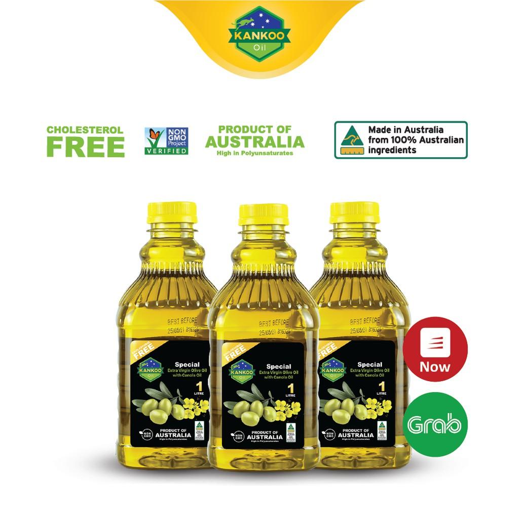 Combo 3 chai 1 lít dầu ăn Oliu hạt cải Kankoo - Dầu oliu chuyên chiên xào, tốt cho sức khỏe, nhập khẩu từ Úc