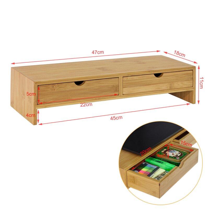 Kệ gỗ để màn hình máy tính có học kéo FAS.DOl nâng màn hình lên đến 11cm / Giảm căng thẳng cổ / bàn làm việc gọn gàng