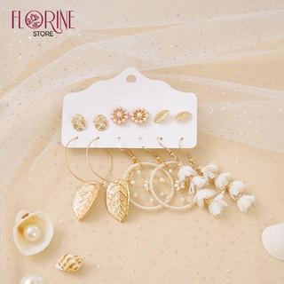 Bông tai, hoa tai nữ Florine set 6 đôi bông tai, khuyên tai cá tính phong cách Hàn Quốc, dáng dài, Boho, Vintage đi biển thumbnail