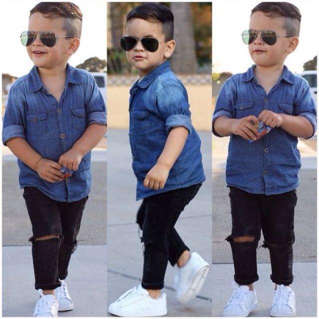 Sét quần jean kaki Áo jean cho bé trai..chất .sành điệu luôn có size 10 đến 30kg ạ