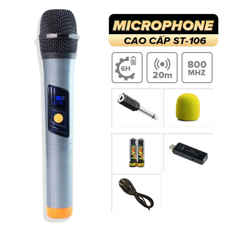 Micro không dây COK ST-106 [1 đầu thu tương thích 1 micro, phù hợp mọi loa kéo & amply có cổng Mic 6.5] BH 6 tháng