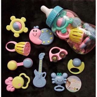 [Nhập TOYAPR10 giảm 10K]Bộ xúc xắc bình sữa 9 món Baby Toys cho bé