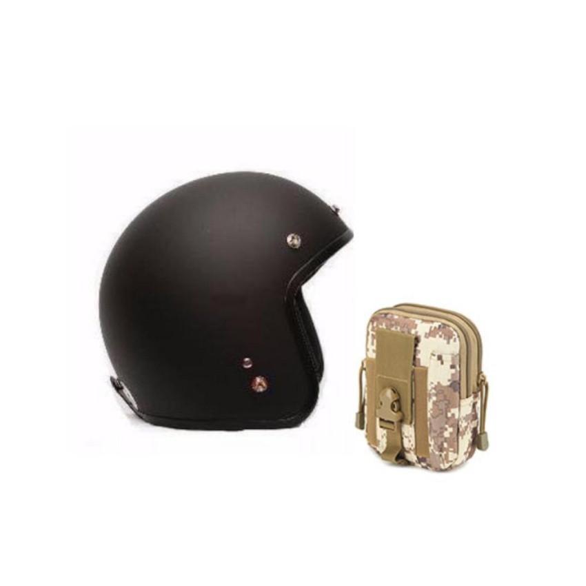 Mũ bảo hiểm 3/4 đầu + túi đeo hông