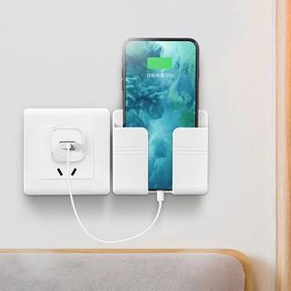 Giá Đỡ Điện Thoại, Kệ dán tường để điện thoại, remote, ổ cắm - Có Móc Treo Giữ Dây Điện