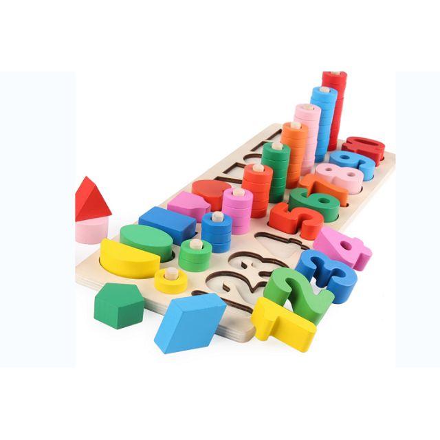 Bộ cọc toán – hình khối màu sắc