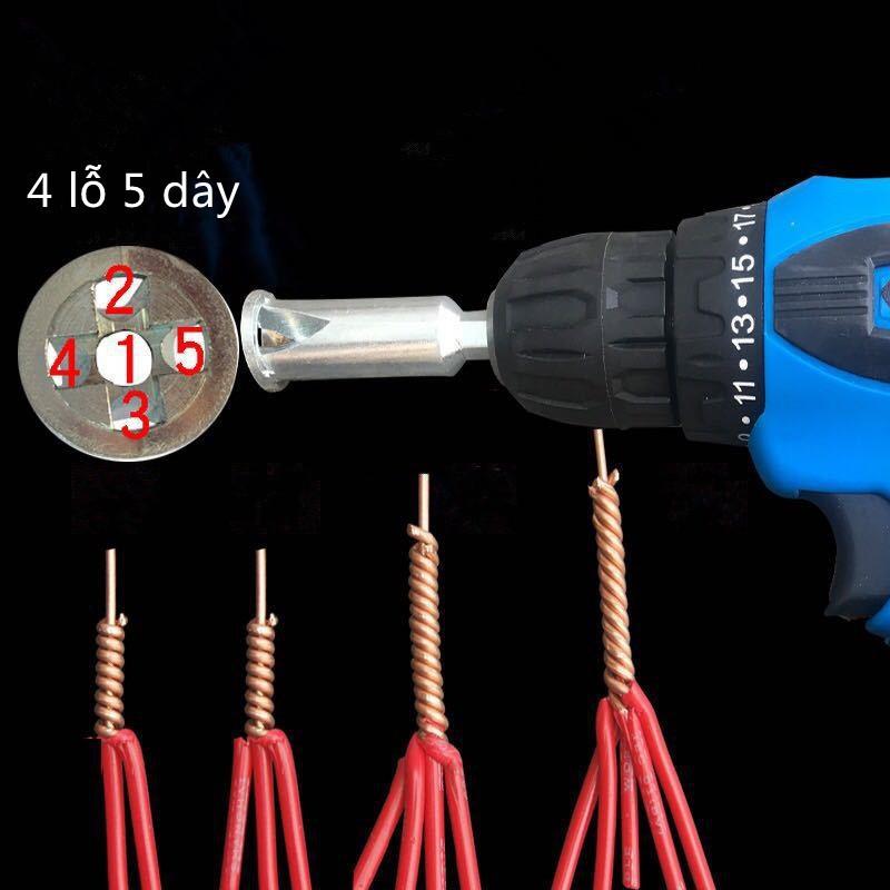 Đầu xoắn nối dây điện 2.5mm lắp máy khoan- 4 lỗ 5 dây
