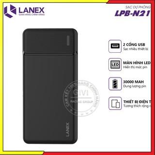 Pin dự phòng LANEX LPB - N21 30.000mah 2 cổng sạc, có đèn LEB báo dung lượng pin thumbnail