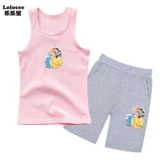 Bộ quần áo Bạch Tuyết dành cho trẻ em Cô gái mùa hè Áo phông không tay Vest và quần short 2 mảnh Bộ quần áo mùa hè mỏng cho bé