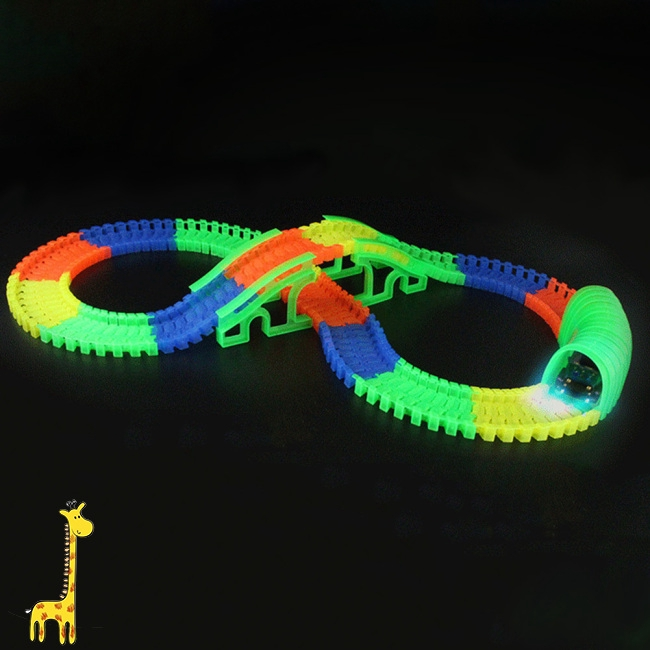 Baby Fluorescent Assembly Racing Track Car Accessories Puzzle Building Blocks Toys as Gifts