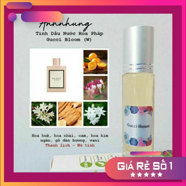 Tinh dầu nước hoa gucci bloom pháp organic dạng lăn 10ml hương hoa thơm quyến rũ, ngọt ngào,thanh lịch