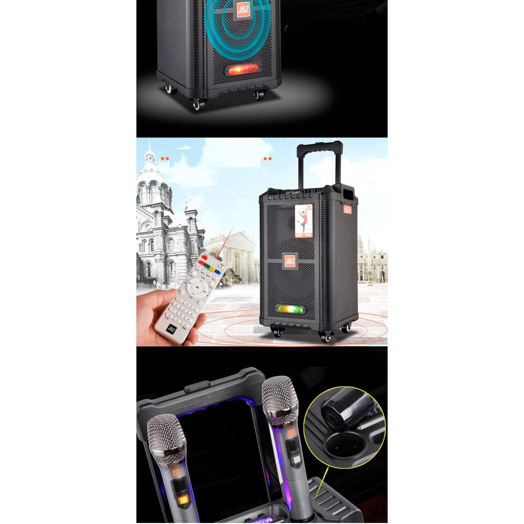 Loa kéo di động Karaoke Bluetooth cao cấp JBZ JB+0806 1006 1206 Bass 2 Tấc + Kèm 2 micro