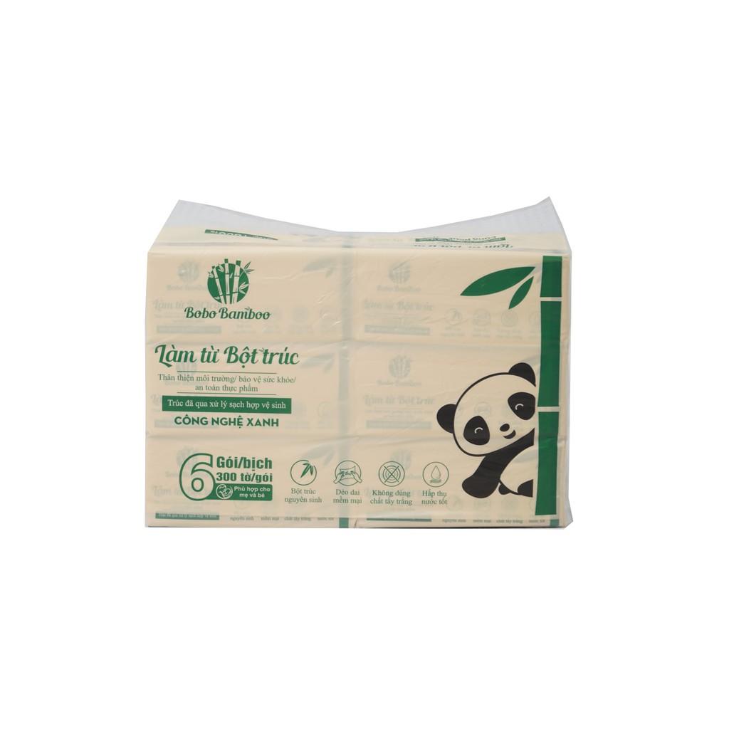 [Mã FMCGM25 - 10% ĐH 150K] Combo 20 gói khăn giấy rút làm từ bột trúc siêu dai Bobo Bamboo