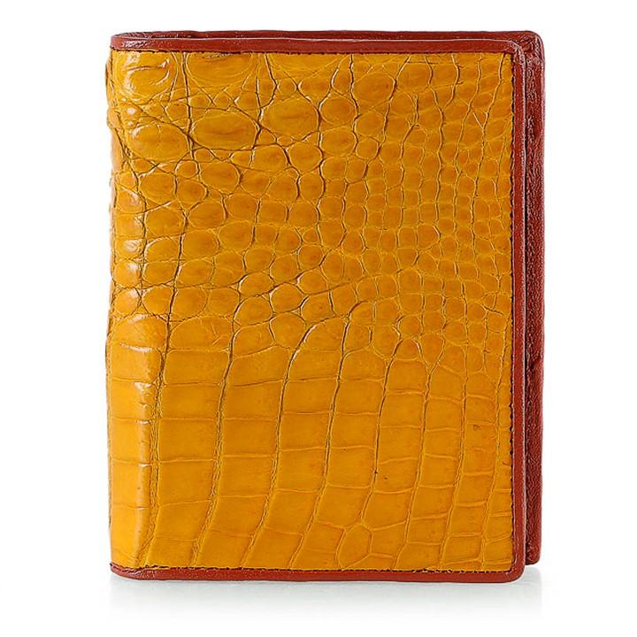 Ví nam da cá sấu đan viền kiểu đứng màu vàng nghệ HP2752