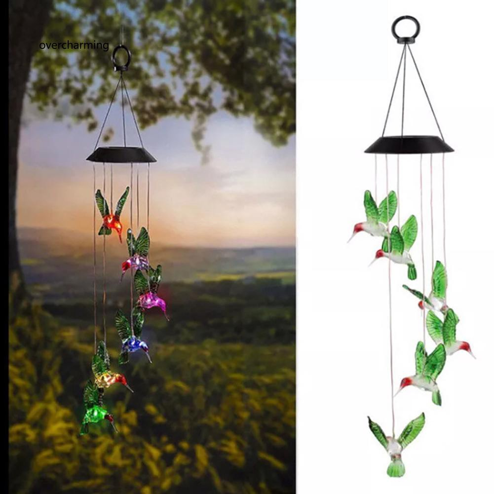 J_Outdoor LED Solar Hummingbirds Lamp Rechargeable Wind Chime Garden Hanging