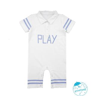 ☀Sun❤Baby Boys Girls Play Print Jumpsuit Collar Short Sleeve Cotton Rompers Newborn Homewear Clothing
