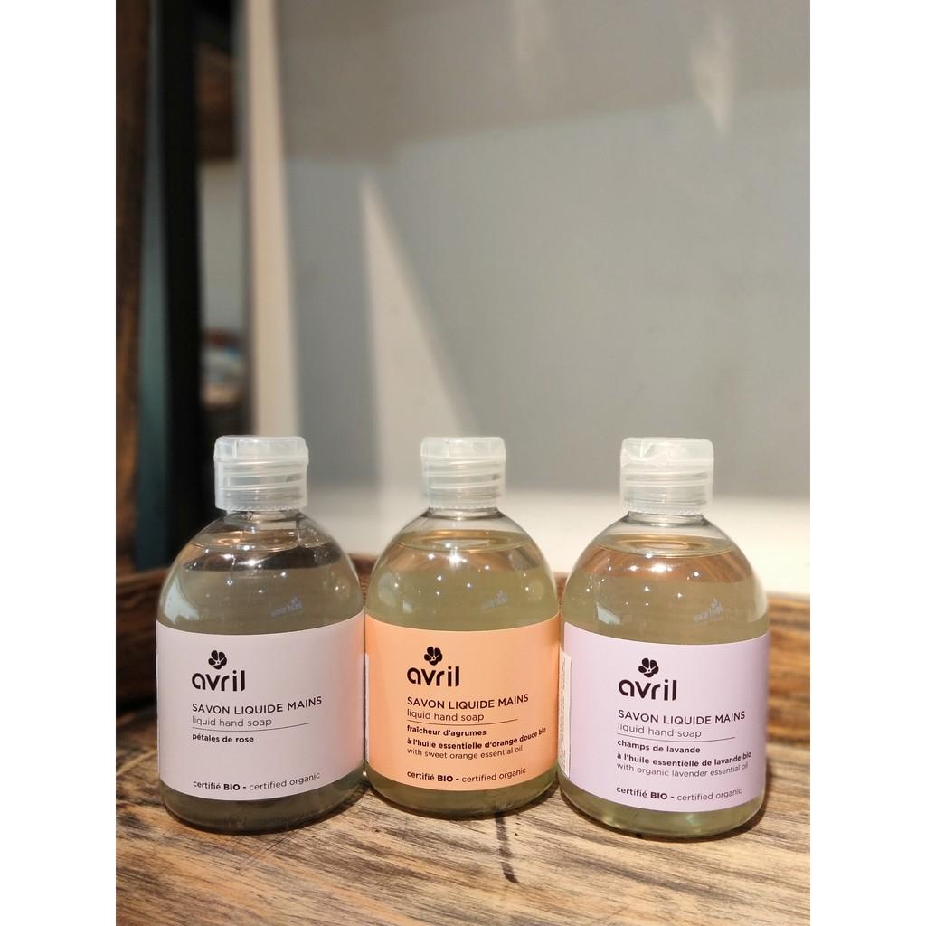 Nước rửa tay hương oải hương/ cam/ hoa hồng Avril 300ml hữu cơ