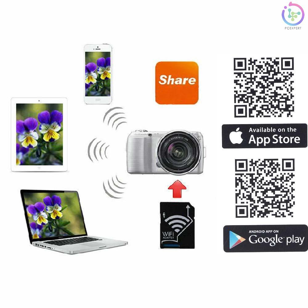 PCER WiFi Wireless Micro SD TF Card to SD Card Adapter for IOS Android  Smartphone Tablet SLR Sony Ca - Thẻ nhớ máy ảnh