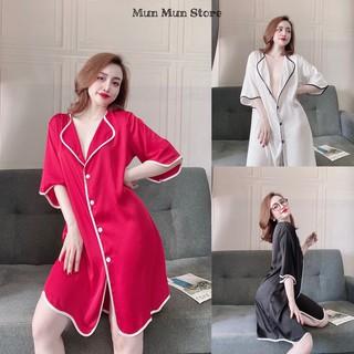 Áo choàng ngủ + kèm quần MunMunStore váy sơ mi chất lụa satin cao cấp phom 70kg ( ảnh + video thật) thumbnail