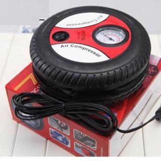 Bơm lốp tròn mini điện 12V đa năng - máy bơm xe ô tô mini thumbnail