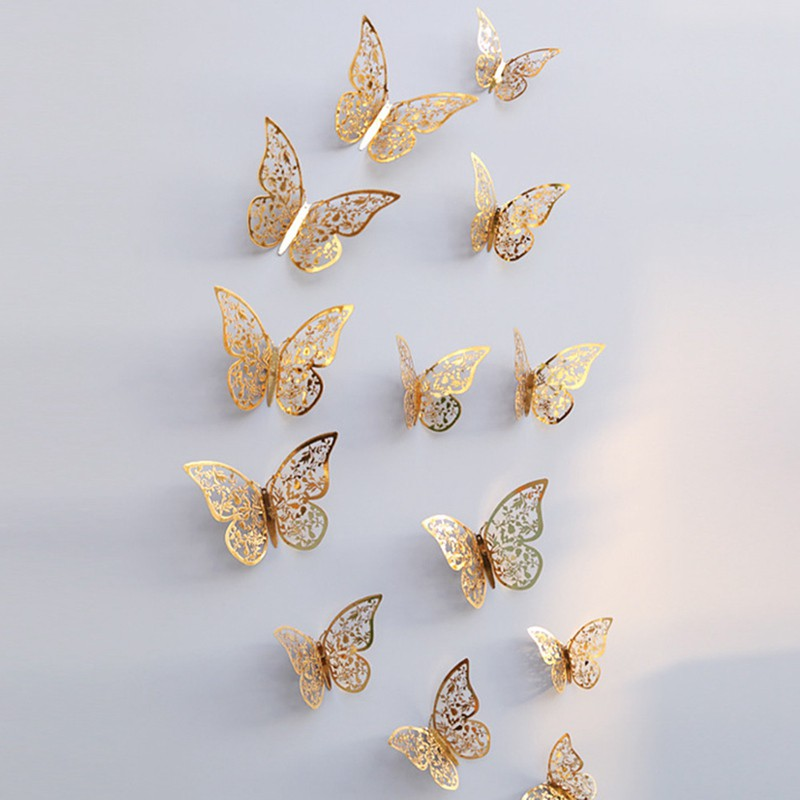 Bộ 12 con bướm decal 3D dán tường trang trí 3 cỡ