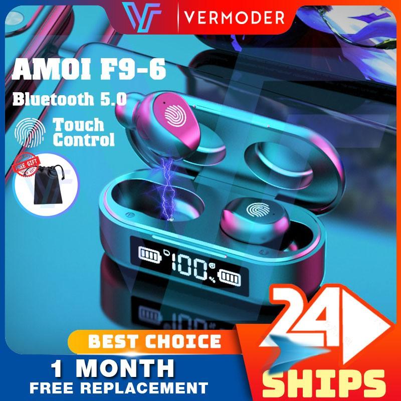 Tai nghe không dây AMOI F9 F9-6 Tai nghe Bluetooth không dây Màn hình LED Tai nghe điều khiển cảm ứng IPX7 Inpod chống nước i20 i12 i11 i7s i7 13 Pro