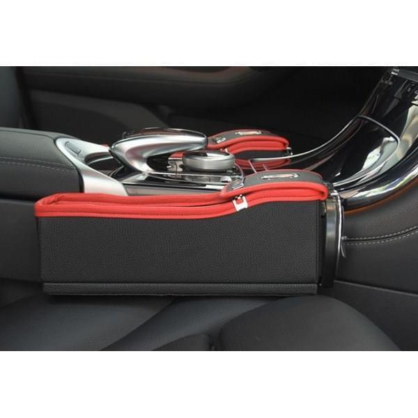 Hộp đựng đồ tiện ích bằng da bò trên ô tô màu đen đỏ -AL