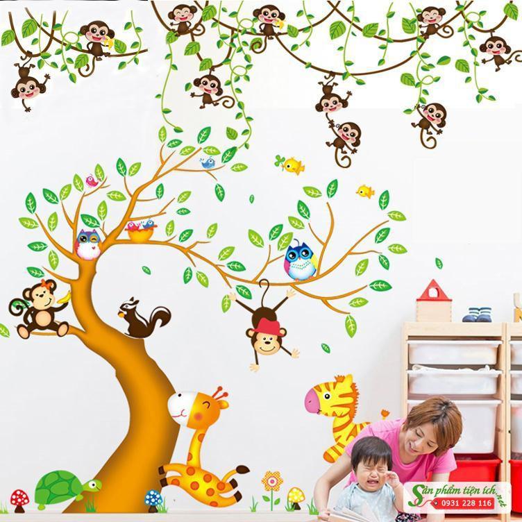 Decal dán tường combo vườn thú cây nâu và khỉ đu dây - 3562051 , 1073011503 , 322_1073011503 , 70000 , Decal-dan-tuong-combo-vuon-thu-cay-nau-va-khi-du-day-322_1073011503 , shopee.vn , Decal dán tường combo vườn thú cây nâu và khỉ đu dây