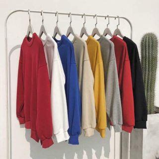 Áo Sweater Trơn Tay Dài Kèm Ảnh Thật