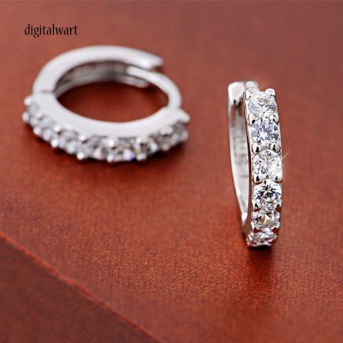 Cặp khuyên tai hình tròn mạ bạc đính đá quý nhân tạo lấp lánh sang trọng dành cho nữ