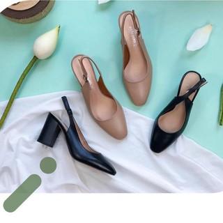 Sandal VNXK da bò Ý, giày công sở quai sau gót trụ 7cm chắc chắn, chống xước tuyệt đối ( có video chi tiết )