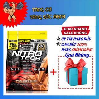 Sữa Tăng Cơ – Nitro Tech bịch 10lbs (4.5Kg) 2 mùi socola, vani – Kèm quà tặng – Hàng Chính Hãng Muscletech USA