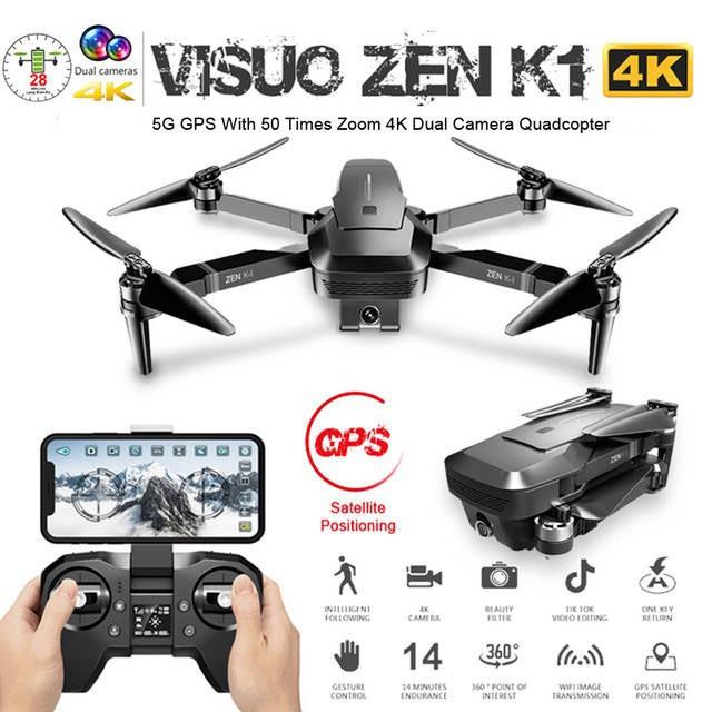 Flycam visuo zen k1 camera 4k siêu zoom động cơ brushless bay 25p xa 800m có tự bay về