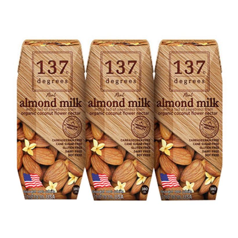 [HOT] Sữa hạt 137 DEGREES hạnh nhân nguyên chất lốc 3 hộp 180ml