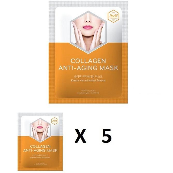 Bộ 5 gói Mặt nạ Avif Collagen giảm lão hóa (Avif Collagen Anti-aging Mask)