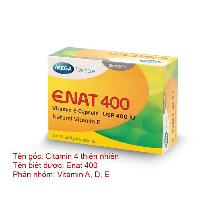 Enat 400 - Viên uống làm đẹp da Vitamin E - HỘP 30 VIÊN(MEGA)